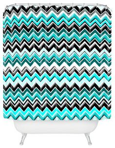 madart inc Turquoise Black White Chevron Shower Curtain - contemporary - shower curtains - by DENY Designs