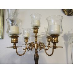 Candelabra 5 Arm Unique Vintage Baldwin Solid Brass Wedding... ($104) ❤ liked on Polyvore featuring home, home decor, candles & candleholders, wedding candelabra, brass candelabra, brass home accessories, vintage centerpieces and vintage brass candelabra