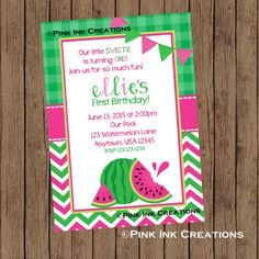 Hey, I found this really awesome Etsy listing at https://www.etsy.com/listing/234254892/watermelon-birthday-invitation