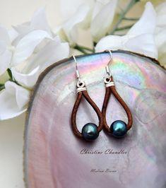 Pearl and Leather Earrings 1 Pearl Tear Drop door ChristineChandler, $30.00