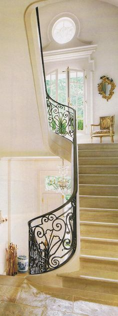 Foyer and staircase, interior design ideas, and French Country decor ideas by ZsaZsa Bellagio Iron Stair Railing, Staircase Railings, Grand Staircase, Stairways, Bannister, Entry Stairs, Entry Foyer, House Stairs, Dream House Plans