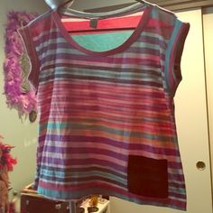 American Rag Rainbow Striped Tshirt Size small. 95% polyester, 5% spandex. Comfortable, has a vintage soft texture despite being hardly worn, and good for summer  American Rag Tops Tees - Short Sleeve