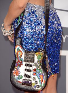 Alicia Arden's Beaded Guitar Shoulder Bag, this rocks! Celebrity Pictures, Celebrity Style, Guitar Bag, Celebrity Hairstyles, Beautiful Bags, Vera Bradley Backpack, Gladiator Sandals, Leather Shoulder Bag, Purses And Bags