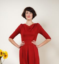 """Knielange Kleider - Kleid """"Flora"""", m. Tulpenrock in dunkelrot - ein Designerstück von Jekyll-und-Kleid bei DaWanda"""