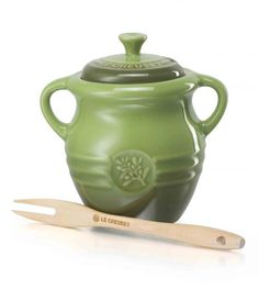 Le Creuset Olive Jar and Wooden Fork - Yuppiechef