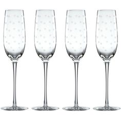 kate spade new york Larabee Dot Flutes, S/4 Clear By ($50) ❤ liked on Polyvore featuring home, kitchen & dining, drinkware, stemware, etched crystal stemware, kate spade, crystal drinkware, kate spade stemware and kate spade flutes