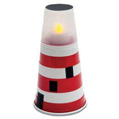 Lighthouse - Great idea for VBS or kids crafts! Plastic cups, white tape and battery operated tea lights are easy to find. Kids Crafts, Bible Crafts, Summer Crafts, Family Crafts, Ocean Crafts For Teens, Lighthouse Keepers Lunch, Battery Operated Tea Lights, Battery Lights, Quick And Easy Crafts