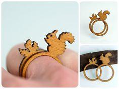 Eichhörnchen Ring Holzring mit Tiermotiv Ringset von fraufischers