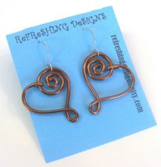 Spiral Heart  Wire Earrings   Customize your by RefreshingDesigns, $14.00