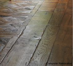 old oak floor Antique oak floor making look over 200 years old Wooden Flooring, Hardwood Floors, Bark Beetle, Building Renovation, Natural Structures, French Oak, How To Antique Wood, Green Colors, Beams