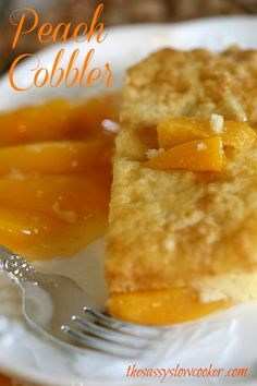 Easy Slow Cooker Peach Cobbler Recipe