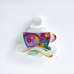 Quilling Paper Wall Art - Would you like some coffee, dear? de QuillingbyLarisa en Etsy https://www.etsy.com/es/listing/576499623/quilling-paper-wall-art-would-you-like