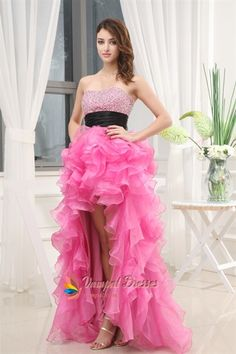 Pink High Low Prom Dress, High Low Dresses For Pageants  $172