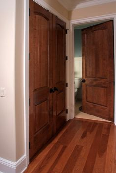 Solid Maple Sante Fe 8 Ft Interior Door And Double Closet Interior Door  With Solid Hickory Hardwood Flooring All Finished In Traditional Cherry And  ...