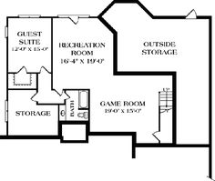 Lower Floor Plan of Traditional   House Plan 96960 - has a walk out basement perfect for a game shop/private theater