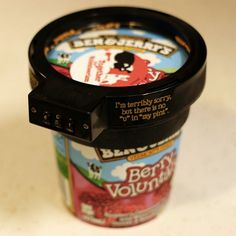 Thanks to Nicolle for sharing this fantastic idea for preventing the greedy people in your house from stealing your Ben & Jerry's ice cream. The Euphori-Lock – a two part plastic combination locked lid that you fit to the top of your ice cream tub – was apparently developed from an idea that a customer came up with when they suggested that they supply their ice cream in lockable steel containers. Found via Brand Republic, also on Incredible Things, Gadget Review and lots of other sites.