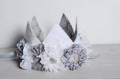 Gray Child's Fabric Crown, Grey and White Cake Smash Hat