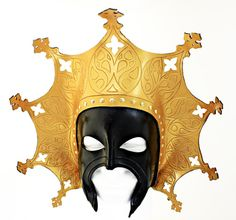 by Skrocki Byzantine inspired leather mask in black and gold.