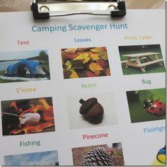 camping scavenger hunt for kids