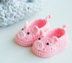 Piggy Crochet Baby Booties by Croby Patterns.  Free Crochet Pattern