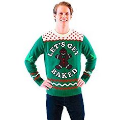 Let's Get Baked Happy Gingerbread Green Ugly Christmas Sweater (Adult X-Large)