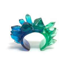 blue green crystal cuff by kate rohde, available at edition X Resin Jewelry, Crystal Jewelry, Jewellery, Magic Armor, Resin Sculpture, Geometric Jewelry, Resin Crafts, Geology, Psychedelic