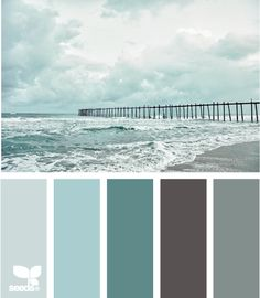 coastal tones - considering these colors when I decide to re-do my bedroom. Walls are already grey & it would be so easy to swap out the black & red pillows, paintings, candle holders with the vast amount of teals, aquas, turquoise & all my sea glass from my beach place...hmmmm.