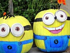 Minion Painted Pumpkins {pumpkin faces}. I love this idea because it is such a change from the pumpkin carving.