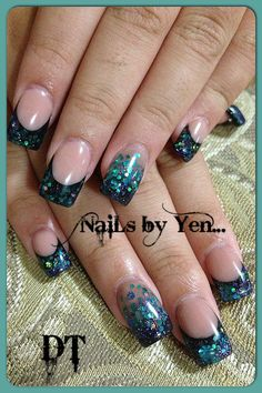 Gems #acrylic #nails by yen #glitter #gradient accent nails #encapsulation #inlay