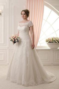 Danes- Hermoso vestido de novia para todas las tallas, con escote a barca, en tul, encaje y satin, sencillo y bello