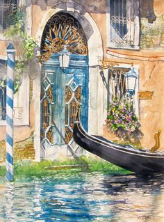 """blue door Grand Canal (3) entrance 30"""" x 22"""" micheal zarowsky / watercolour on arches paper (private collection)"""