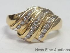 Vintage 14k Yellow Gold Genuine Diamond 3 Row Channel Set Fashion Ring #Band