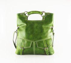 Olive green  leather handbag / shoulder bag / purse / tote / Brook