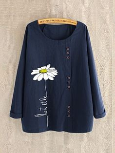 2019 Spring Women's Printed Blouse Elegant Daisy Blouse Casual Long Sleeve Shirts Female Blusas Chemise Plus Size Tunic Tops Camisa Floral, Themed Outfits, Mode Hijab, Types Of Sleeves, Shirt Blouses, Ideias Fashion, Long Sleeve Shirts, Long Shirts, Clothes For Women