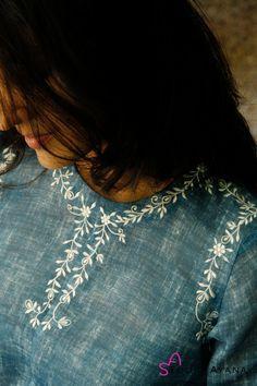 Aquatalia Embroidered Kurti with Cigarette Pants - House of Ayana Embroidery On Kurtis, Hand Embroidery Dress, Kurti Embroidery Design, Embroidery Neck Designs, Embroidery On Clothes, Embroidery Stitches, Machine Embroidery, Kurta Designs Women, Salwar Designs