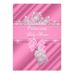 """Princess Baby Shower Girl Pink """"It's a Girl"""" Personalized Announcements"""