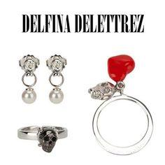 Delfina Delettrez skull obsession. #delfinadelettrez #skull #skulls #ring #earrings #earring #silver #jewellery #jewelry #dolcitrame #dolcitrameshop #shoponline