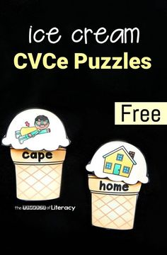 """SAVED HYB PRINTED Make reading long vowel CVCe or """"magic e"""" words fun with these printable ice cream puzzles! Read the words on the cone and match them to their picture Kindergarten Language Arts, Kindergarten Centers, Kindergarten Reading, Teaching Reading, Literacy Centers, Kindergarten Phonics, Teaching Ideas, Guided Reading, Writing Centers"""