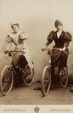 Therese Bidermann und eine Freundin mit ihren Fahrrädern, um 1893, Foto: Rudolf Krziwanek © Wien Museum Museum, Slice Of Life, Vienna, 19th Century, Vehicles, Photography, Spring, Photos, Trial Bike