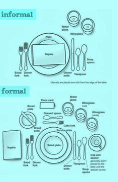 How to set a table both formally and informally eindecken ? How to set a table both formally and informally eindecken ? Place Settings, Table Settings, Correct Table Setting, Setting Table, Dining Etiquette, Etiquette Dinner, Table Setting Etiquette, Etiquette And Manners, Table Manners