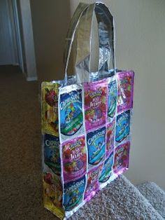 Repurpose DIY- Make a Tote Bag from juice pouches (Caprisun or other brand like it) Great gift idea too!