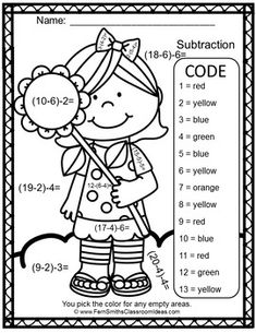 2 Digit Addition & Subtraction Color-By-Number Fall Themed