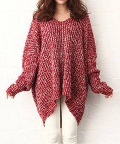 Irregular Hem Color Block Long Sleeve Plus Size Pullover Women's Sweater