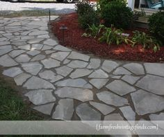 How to put in a stone walkway  Easy and beautiful How to Build a Sidewalk with Flagstones   Farm Fresh Vintage Finds  . Flagstone Sidewalk Pictures. Home Design Ideas