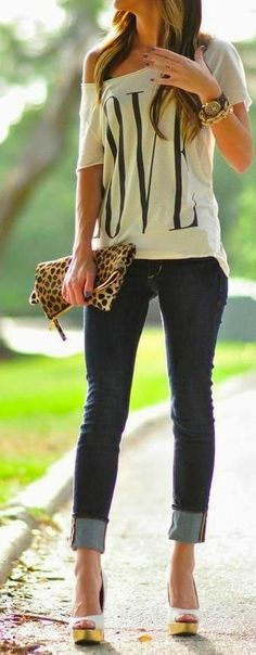 see more Stylish Jeans with Comfy T-Shirt, Leopard Clutch Bag, Accessories and High Heel Shoes