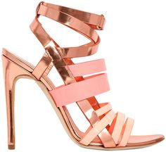 Antonio Berardi Mirrored Rose Gold & Pink Leather Strappy Spring 2014