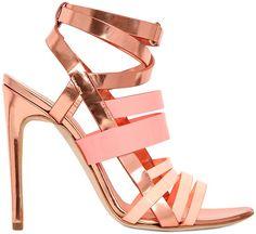 Antonio Berardi Mirrored Rose Gold & Pink Leather Strappy Spring 2014