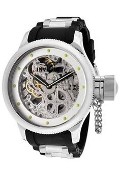 Men's Invicta Watch ~ Russian Diver Mechanical See-Thru Skeletonized Silver Dial Black Polyurethane    Save: $1,095  Sale: $300