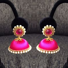 Silk Thread Jhumkas/Indian jewelry/Magenta by papersandpassions