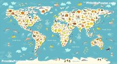 Nursery printable animal world map kids world map poster nursery nursery printable animal world map kids world map poster nursery world map baby room map kids map art animal nursery decor unique baby gift pinterest gumiabroncs Image collections